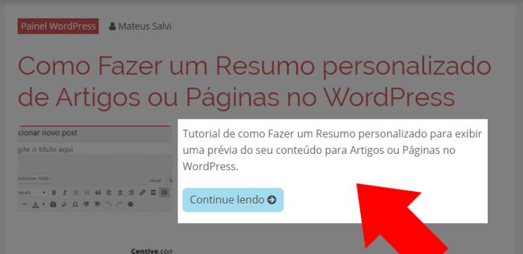 Como Fazer um Resumo personalizado de Artigos ou Páginas no WordPress